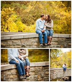 Engagement photos in the fall on a bridge | Live and Love Studios, Minneapolis St. Paul Engagement Photography #EngagementPhotos