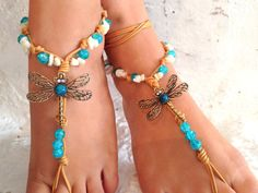Barefoot sandals. wedding sandals. dragonfly boho by SoftCrystal