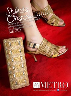 www.metroshoes.com.pk. Stylish high golden strapped Heels and Clutches for bridals. It is also a party footwear. We called this Stylists Obsession..