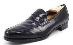 Salvatore Ferragamo Mens Shoes 10.5 C Leather Strap Loafers 13429 Black #SalvatoreFerragamo #LoafersSlipOns