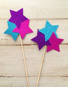 Glitter Star Cake Topper, Set of Glitter Star Centerpieces, You choose the colors! 70th Birthday Decorations, Birthday Party Centerpieces, 4th Birthday Parties, Birthday Diy, Glitter Unicorn, Glitter Stars, Shimmer And Shine Characters, Shimmer Y Shine, Aladdin Cake