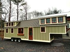 This is the smallest tiny house I would live in.  Great floor plan, stairs to a bedroom, decent closet and room for a real sofa! Luxury Gooseneck Tiny House  |   Tiny House Swoon