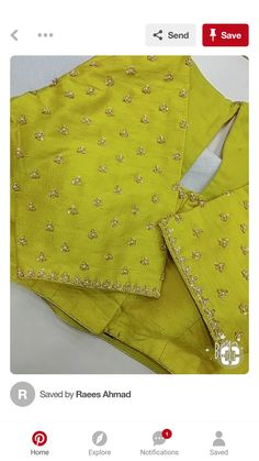 Discover thousands of images about Simple work design Simple Blouse Designs, Saree Blouse Neck Designs, Bridal Blouse Designs, Kurta Designs, Blouse Desings, Maggam Work Designs, Work Blouse, Kurtis, Sarees