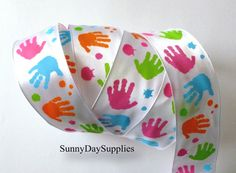 Kids Hand Print Ribbon ~ Painted Hands ~White Satin, Pastel Hands ~ 3 Yards ~ 1.5 in. wide ~ Kids, Crafts, School Ribbon ~ Symbol for PAS
