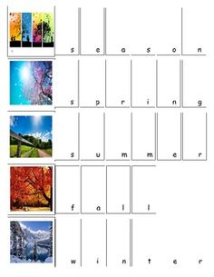 Seasons File Folder Activity  ABA, TEACCH, ABLLs, ABLLs-R, Structured work stations, Common Core, Special Education, Autism.