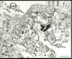 South Korean illustrator and cartoonist Kim Jung Gi draws energetic and fantastical scenes inspired by a mix of comics, movies, and his everyday encounters. His drawings became a Youtube sensation …