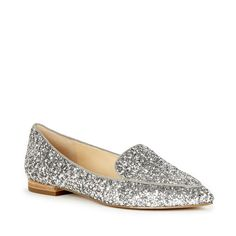 Make a statement in this silver glitter smoking slipper! Fashion Mode 8838f50bc89a