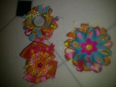 flower bow hair clips by hairbowsandsuch on Etsy, $7.00