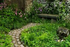 So lush. I'd like to add a few more plants to the moss beds on the north side of the house. #garden #green #lush #walk #bricks #shade