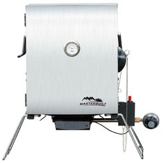 Add delicious smoked flavor to meats and vegetables with this Portable Propane Smoker in Stainless Steel from Masterbuilt. Gas Smoker, Propane Smokers, Wood Smokers, Propane Gas Grill, Portable Smoker, Electric Meat Smokers, Traeger Smoker