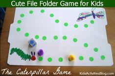 File Folder Game: Fun Caterpillar Game inspired by book, The Very Hungry Caterpillar! Caterpillar Book, Hungry Caterpillar Activities, Very Hungry Caterpillar, File Folder Activities, File Folder Games, File Folders, Spring Activities, Learning Activities, Kids Learning