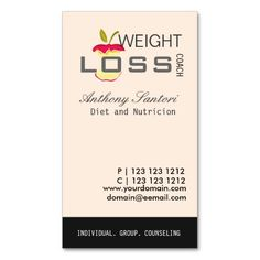 6e0b5596b23 Dieting and Loosing Weight Coach Business Card Templates Dietitian