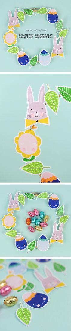 free printable Easter wreath with bunnies, eggs, flowers & leaves - by PinkNounou