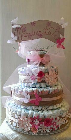 Le Fate Scappate : fiori e farfalle come biscotti : torta di pannolini