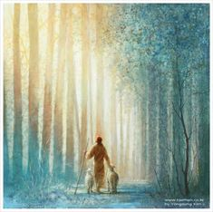 jesus christ walking with two lambs in a forest of tall trees Images Du Christ, Pictures Of Jesus Christ, Art Prophétique, Arte Lds, Site Art, Image Jesus, Christian Artwork, Christian Artist, Christian Paintings