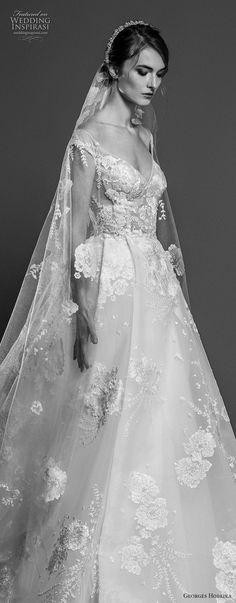 georges hobeika spring 2019 bridal cap sleeves v neck full embellishment princess elegant a line wedding dress chapel train (3) zv -- Georges Hobeika Spring 2019 Wedding Dresses | Wedding Inspirasi #wedding #weddings #bridal #weddingdress #bride ~