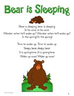 bear is sleeping song plus a bunch of other cute printables for I can read folders!!