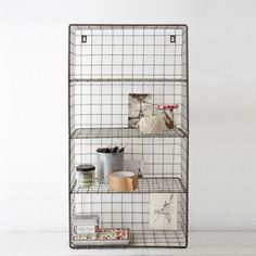 Inspired by the industrial trend, this boot room style wire wall rack has four handy shelves and keyhole hooks for hanging. Whether wall hung or sat on a surface, our Wire Wall Rack is the perfect storage solution. Custom Shelving, Wire Shelving, Wire Storage, Wire Basket Storage, Toilet Storage, Shelving Ideas, Wall Racks, Wall Shelves, Rack Shelf