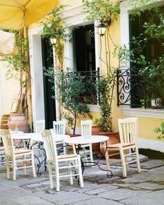 Cafe Art Print - Athens Cafe in Yellow - Photo of Greece - Greek Restaurant - Lemon Sunshine Citrus - Home Decor - Wall Art - Kitchen Decor