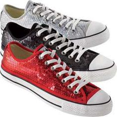 I have the red ones! They are my Lucky Bucky Chuckies :) Converse: Sequin Sneakers Chucks Shoes, Converse Sneakers, Converse All Star, Casual Sneakers, Converse Low, Red Converse, Sparkle Converse, Sequin Converse, Cute Shoes