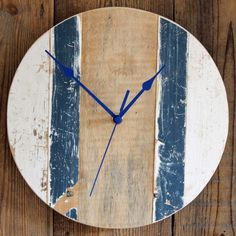 Driftwood Wall Clock Blue and White