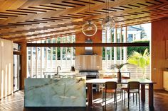 Articles about house week striking wooden ceiling new zealand. Dwell is a platform for anyone to write about design and architecture. Modern Kitchen Counters, Glass Kitchen Cabinets, Kitchen Countertops, Cool Kitchens, Dream Kitchens, Kitchen Dresser, Stone Kitchen, Island Kitchen, Kitchen Doors