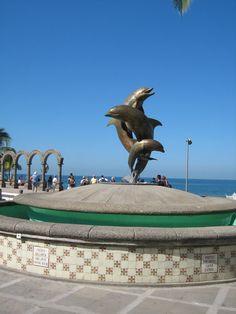 Dolphin Fountain - Puerto Vallarta, Mexico you will see this in Santa Barbara sister beach