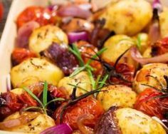 Get Roasted Potatoes and Tomatoes Recipe from Food Network Rosemary Potatoes, Roasted Potatoes, Potato Tomato Recipe, Potato Onion, Oven Roasted Cherry Tomatoes, Baked Onions, Whole Food Recipes, Cooking Recipes, Vegetarian Recipes