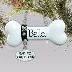 Honor your favorite furry friend by hanging these cute Bad To The Bone pet ornaments from the tree this year. Personalized free, this pet lover Christmas ornament will become a family favorite. Order this Bad to the Bone dog Christmas ornament today! Dog Christmas Ornaments, Christmas Dog, Word Art Design, Bad To The Bone, Clay Animals, Creative Gifts, Bones, Personalized Gifts, Crafts