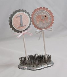 Elephant Cupcake Toppers Pink and Grey Set by CardsandMoorebyTerri, $18.00