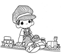 Precious Moments Christmas Coloring Pages | Train driver - precious moments coloring pages