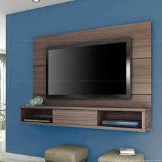 Resultado de imagem para painel de tv de mdf Wall Mount Tv Stand, Tv Panel, Tv Unit Design, Tv In Bedroom, Front Rooms, Under Stairs, Wall Mounted Tv, Wall Shelves, Interior Decorating