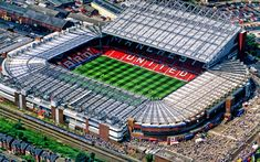Manchester United Stadium, Manchester United Wallpaper, Manchester United Legends, Football Stadiums, Football Players, British Football, Sports Stadium, Old Trafford, Aerial View
