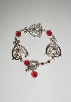 Red Crystal Filigree Bracelet