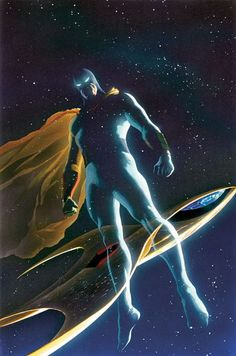 """Space Ghost (Thaddeus Bach) (Human/Empowered) (Ghost Planet, Space Ghost) Adventurer. Flight. Super strength.  Enhanced agility. Enhanced stamina. Teleportation. Belt that grants Invisibility.  Power Bands give an assortment of energy powers and abilities. 6' 0"""" tall."""