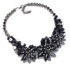 Necklaces : Statement Black Floral Choker Women's Necklaces, Chokers, Chain, Floral, Black, Jewelry, Jewlery, Black People, Bijoux