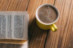 A Cup of cappuccino with a book in t , Restaurant Website Templates, Cappuccino Cups, Grenadines, Book, Style, Swag, Book Illustrations, Books