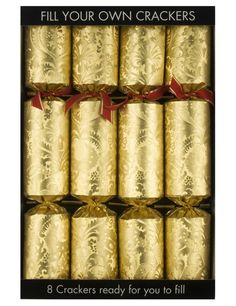 10 Deluxe Christmas Crackers Xmas Gifts Novelty Hats Festive Gold Reindeer