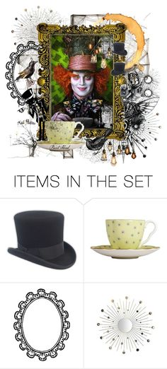 """Tea Time!"" by painthead ❤ liked on Polyvore featuring art, alice in wonderland, johnny depp, painthead, crazy, mad hatter and movies"