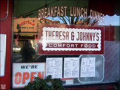 Want the best breakfast in town?  Try Theresa & Johnny's Comfort Food, Fourth Street, San Rafael.  Cash only!