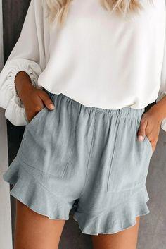 Summer Gray Blue Pocketed Flutter Linen Cotton Shorts – ModeShe.com