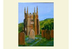 English Church Original Acrylic Painting Graveyard Matlock