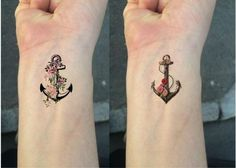 Ship from NY - Temporary Tattoo - Set of 2 Flower Anchor/Wrist tattoo in Health & Beauty, Tattoos & Body Art, Temporary Tattoos Navy Tattoos, Tattoos Masculinas, Tattoos Skull, Mini Tattoos, Trendy Tattoos, Unique Tattoos, Temporary Tattoos, Feather Tattoos, Foot Tattoos