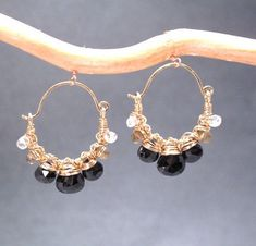 Siren 172 Hammered hoops with  crystal quartz by CalicoJunoJewelry, $84.00
