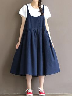 Vintage Loose Strap Pocket Pure Color Dresses For Women Cheap Dresses, Casual Dresses For Women, Dresses For Sale, Dress Sale, Dresses Dresses, Midi Pinafore Dress, Moda Casual, Moda Vintage, Cotton Skirt
