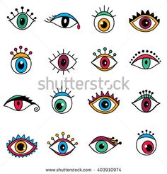 Hand drawn eyes. Flat design seamless pattern. Artistic drawings of eyes.