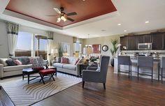 Traditional Great Room with Hardwood floors, flush light, Carpet, High ceiling…
