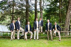 groom and groomsmen, navy coats, white shirts, beige pants, yellow striped ties, mens attire, grooms attire, groomsmen attire, rustic lakeside wedding, Danielle Pasternak, Wedding Coordinator, Lalee Photography