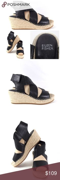 """Eileen Fisher NWOT Wedge Espadrille Sandal Eileen Fisher """"Willow"""" sandals in black. Wide black leather straps, velcro closure around back of heel, 3"""" heel with 1"""" platform, espadrille style. New without box or tags. Size 10. Eileen Fisher Shoes Espadrilles"""