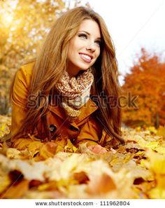 stock photo : autumn woman on leafs